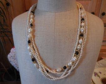 Vintage 1980s Retro White Faux Pearl and Black Plastic Beaded Dressy Necklace Gold Tone Accent Beads 4 Strand Lightweight