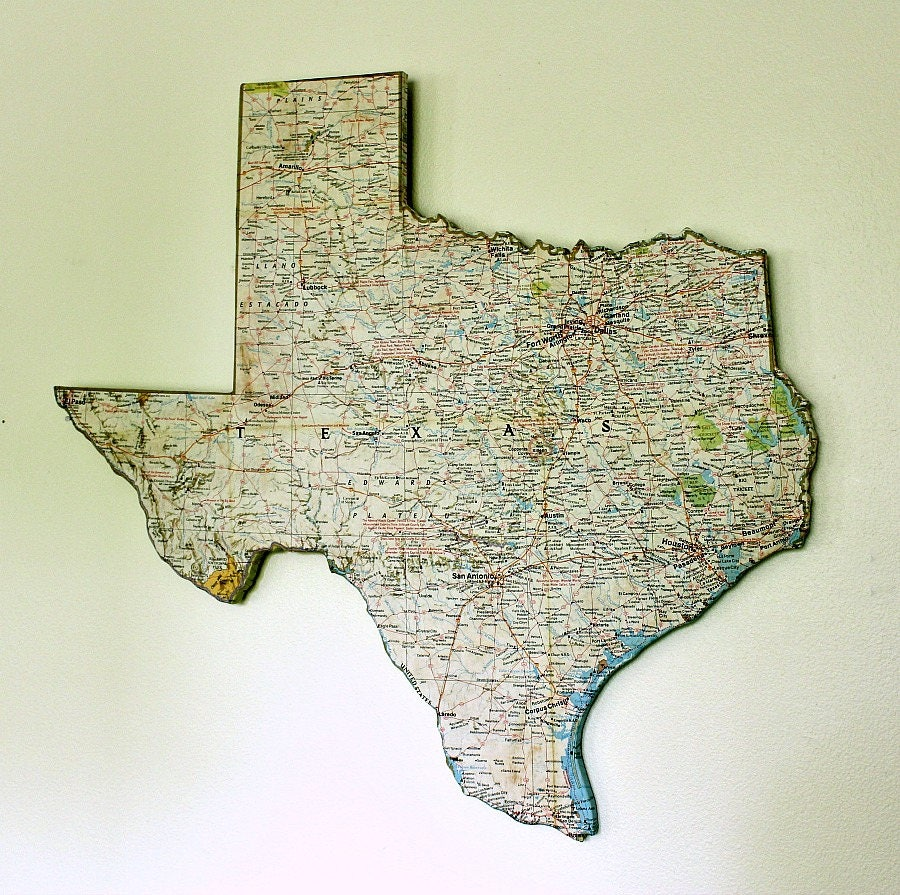 Texas State Map Wall Decor Vintage Map National Geographic