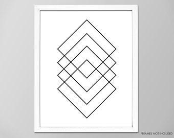 Minimalist Art Print, Black and White Print, Square Prints, Wall Decor, Home Decor, Geometric Design, Squares Print, Minimalist Art Print