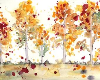 Yellow Aspen Landscape, 10 x 8 Autumn Landscape Art, Landscape Fine Art Print