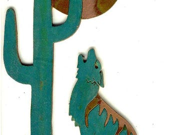 """CopperCutts Coyote with Saguaro and Moon 6"""" x 10"""" Wall Plaque"""