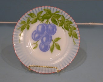 Depression Glass Petalware Salad Plate with Plums, Fired On Red Trim