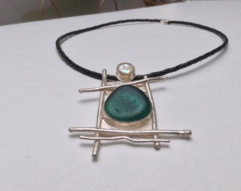 Handmade Sterling Silver Seaham English Sea Glass Necklace Pendant Large Bold Teal Green With Pearl