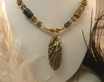 Ocean Jasper Necklace and Earrings