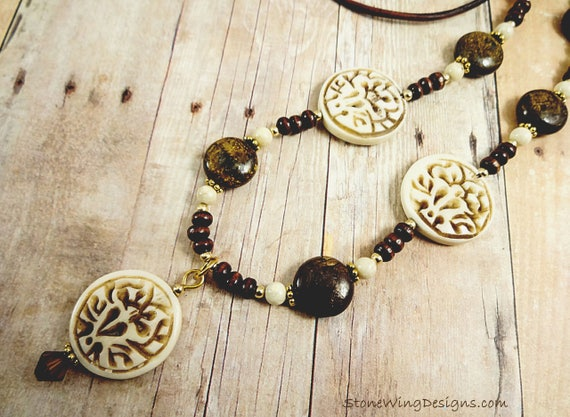 Rustic Boho Leather, Bone and Bronzite Lotus Necklace
