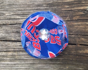 Chicago Cubs Royal Blue Red Frayed Fabric and Tulle Flower Hair Clip Clippie Babies, Toddlers, Girls