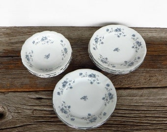 Haviland Blue Garland Bavaria Germany Blue and White China Floral Dinnerware Cottage Chic Kitchen Dining Farmhouse Dishes 8 Piece Set