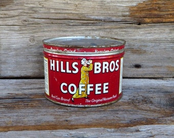 Hills Brothers Coffee Can Red Can Brand 1950s Rustic Farmhouse Decor Country Kitchen Primitive Display
