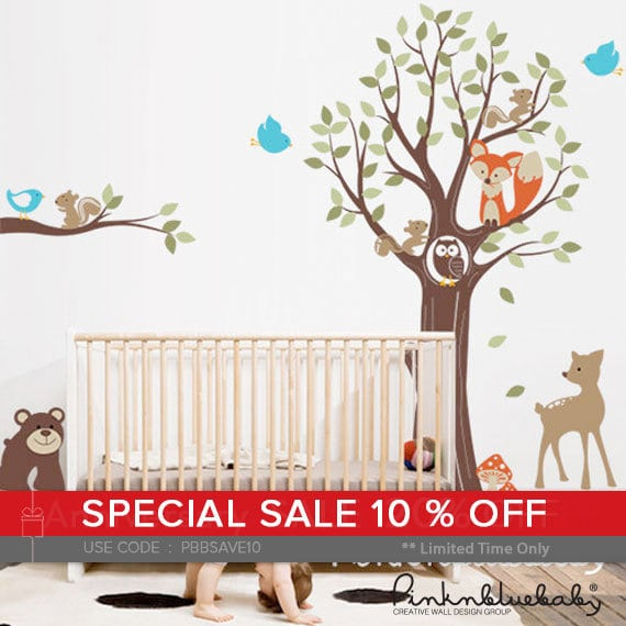 Wall decal, Adorable Animal Friends with Tree - Kid's Nursery Room Wall Sticker