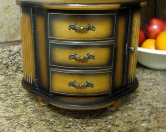 London Leather Wood Carousel 6 Drawer Jewelry Box
