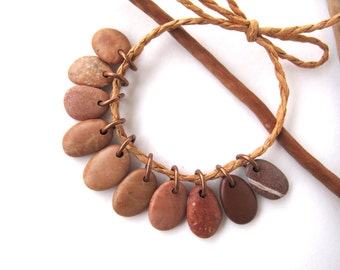 Drilled River Stone Beads Beach Stone Beads Rock Beads Mediterranean Diy Jewelry Findings Small Stone Pairs SMALL PEACH CHARMS 15-17 mm