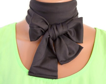 Charcoal Scarf Extra Thick Necktie Lightweight Scarf Head Wrap Grey Neck Bow Neck Warmer Cravat Ascot Christmas Gift Under 20 Bow Tie Grey