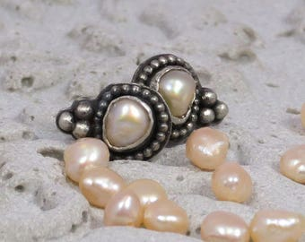 Tiny silver studs with fresh water pearls and silver granules