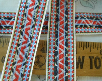 "Tribal Pattern Jacquard 1"" ribbon trim reversible blue white red yellow 2 yards embellishment yardage costume"