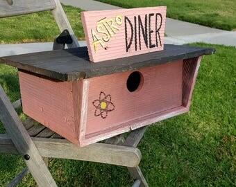 Modern birdhouse,garden decor,googie,unique birdhouse,midcentury modern,birdhouse,contemporary birdhouse,space age,whimsical,reclaimed wood