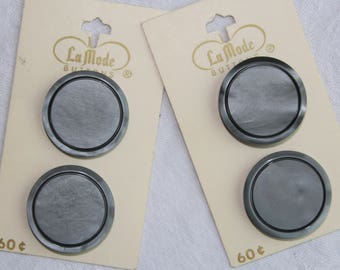 LaMode vintage grey buttons / set of 4 on original cards / 1 inch large size made in Holland