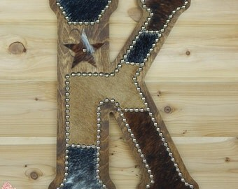 Cowhide Wall Letter K - Western Home Decor, Wall Hanging, Cowboy Nursery, Monogram