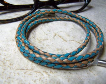 Turquoise and Natural Leather Eyeglass Chain, Cord for Glasses, Custom Made 24-36 inchs, Eyeglasses Holder,