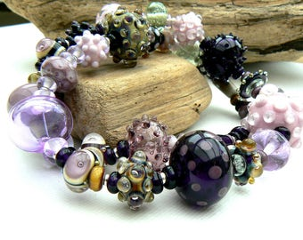 Hollow bead necklace in pink,purple and olive,Lampwork and sterling silver necklace,Statement Necklace,OOAK