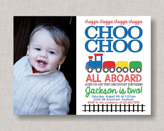Train Birthday Invitation, Train Invitation, Train Party, Train Birthday, 2nd Birthday Invitation, Choo Choo, Two Two, Boy, Red Blue Green