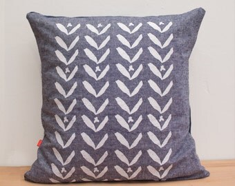 Chambray Linen Pillow Cover: modern floral