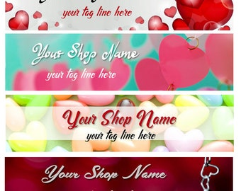 Large Etsy Facebook Cover Photo Ready Made Red Heart Tree Valentine's Day Shop Banner- Pick one