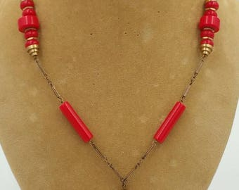 Art Deco Red Galalith Necklace Machine Age Necklace