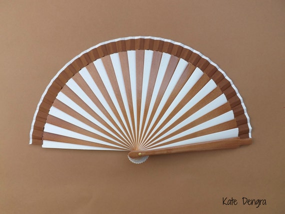 Brown and White Stripe 19cm Wood Fabric Hand Fan Two Color Multi Striped Stripy Handheld Folding Fashion Fan by Kate Dengra Spain