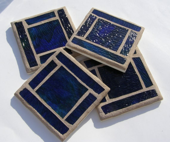 Blue Stained Glass Coasters  Blue Mosaic Home Decor Unisex Barware Drinkware  Housewarming Gift