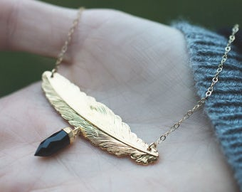 Feather and Onyx Point Necklace - Minimalist Jewelry - Boho Necklace - Gemstone Jewelry - Layering Necklace - Simple Jewelry - Gift for Her