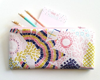 Zipper Pouch, pencil case, pastel floral, make up bag, zipper bag, organizer