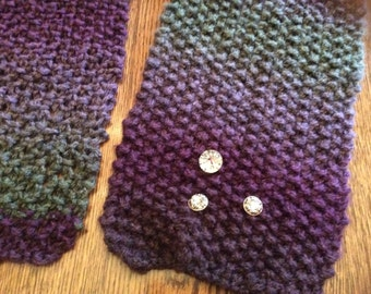 Scarf With Crystal,Like Button Trim