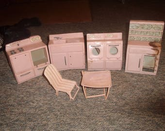 vintage 1950s tico doll kitchen furniture pink plastic