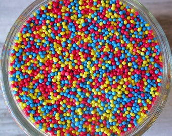 Sprinkles, 3 oz - Wonder Woman Non Pareils Mix (red, yellow, blue) - For Cupcakes - Cookies - Cake Pops - Ice Cream - Dipped Pretzels - Cake