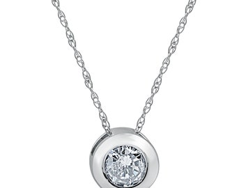 3/4ct Round Bezel Solitaire Real Pendant 14K White Gold (H, I1)