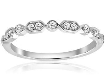 Art Deco Diamond Wedding Ring Stackable Diamond Wedding Band Womens Anniversary Band 14 Karat White Gold Antique Hand Engraved Unique Ring
