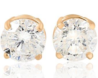 Yellow Gold Diamond Studs 2ct 14k Gold Diamond Earrings Studs Clarity Enhanced