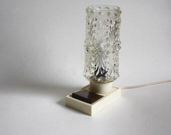 1960s Table Lamp. Cream brown bubble glass bedside light. Midcentury Modern Lighting. Funky / teen / dorm / night light.