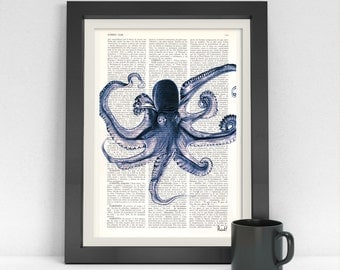 Summer Sale Art Print on Dictionary page Blue Octopus Print wall art print poster print Octopus wall decor, Giclee print, SEA07
