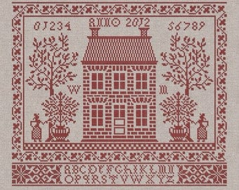 PDF Home Sweet Home Housewarming cross stitch patterns by Modern Folk at thecottageneedle.com monochromatic sampler