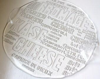 Mod Glass Cheese Board Platter Crystal Graphics Royal Krona Sweden Bengt Edenfalk