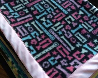 Pink & Bones Fleece Dog Blanket