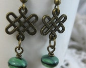 Clear Out Sale Green Celtic Garden // Antiqued Brass and Czech Glass Celtic Knot Earrings // Ready to Ship // Irish Wedding // Bridesmaid Gi