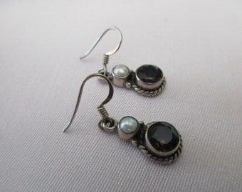 vintage sterling silver earrings - smoky quartz, round, pearl, pierced