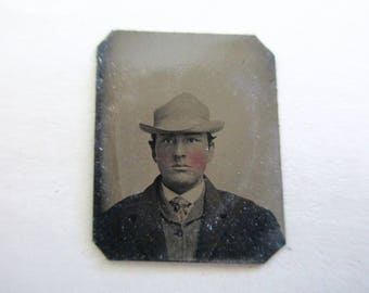 antique miniature gem tintype photo - 1800s, man with hat, rosy cheeks