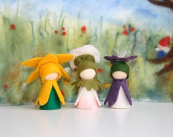 Spring Set 2. Crokus,  primerose / Flower dollWaldorf Inspired natural Table doll