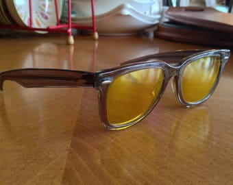 Early Ray-Ban Wayfarer Sunglasses Translucent Frame Yellow Lenses