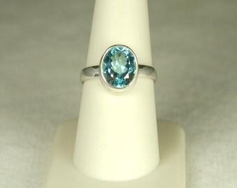 Blue Topaz Ring, Size 8, Sky Blue Topaz, 4 Cts, December Birthstone, Oval Blue Topaz, Light Blue Gemstone, Large Blue Gemstone