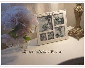 Five Section Multiple Picture Frame, White with Roses~