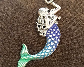 Hand Painted Mermaid Ombre Pendant Necklace